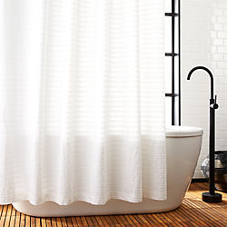 Ribbon White Shower Curtain