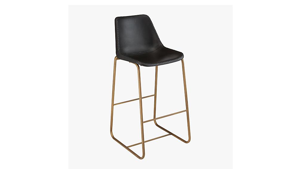"roadhouse black leather 30"" bar stool"