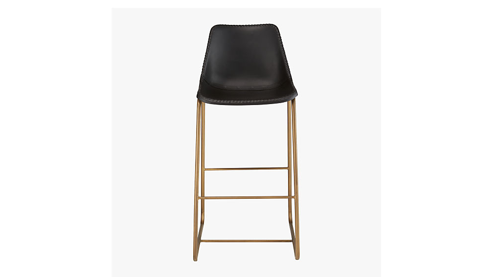 "roadhouse black leather 24"" counter stool"