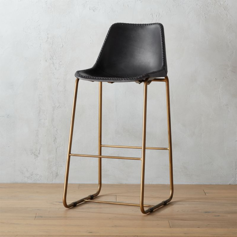 roadhouse black leather 30  bar stool & modern leather bar stools | CB2 islam-shia.org