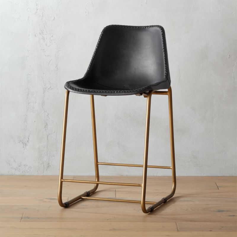 Roadhouse Black Leather 24 Quot Counter Stool In Bar Stools