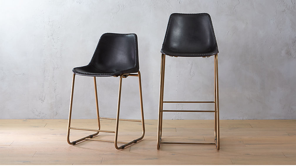 - Roadhouse Black Leather Bar Stools CB2