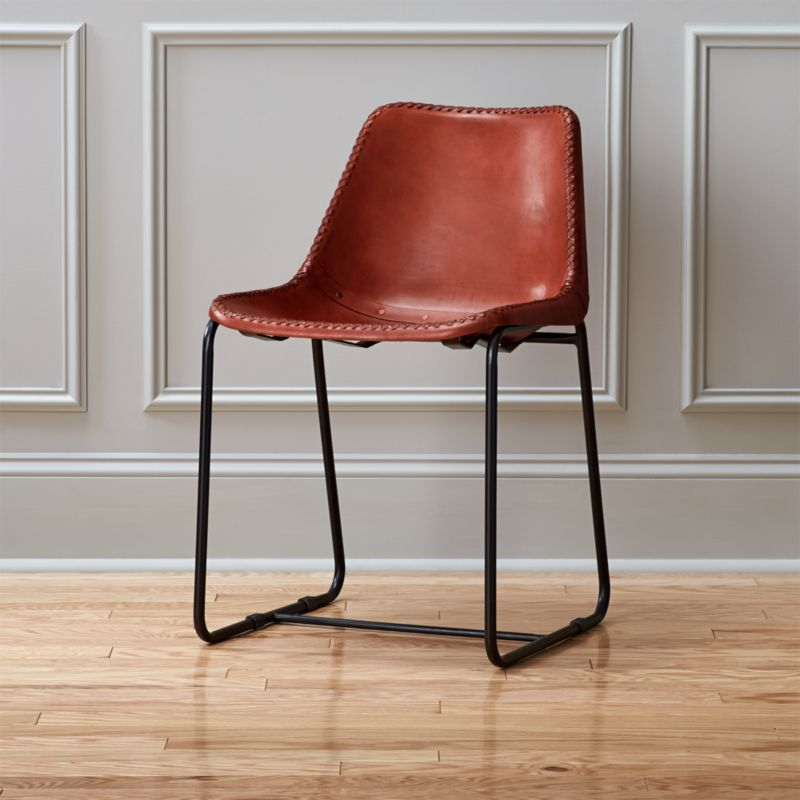 roadhouse leather dining chair | cb2