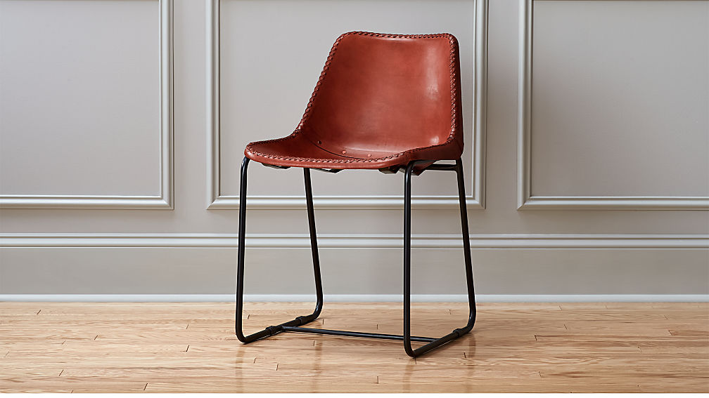 Roadhouse leather chair cb2 for Leather seat dining chairs