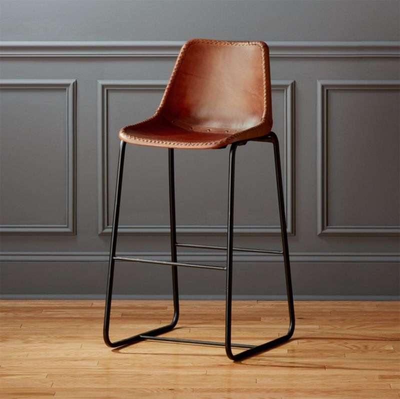 roadhouse leather 30  bar stool & modern leather bar stools | CB2 islam-shia.org