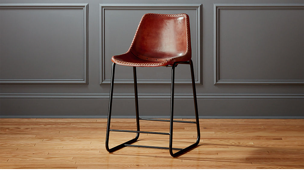 Roadhouse 24 Quot Leather Counter Stool Cb2