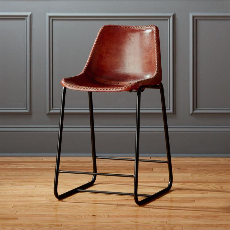 roadhouse 24  leather counter stool & modern leather bar stools   CB2 islam-shia.org