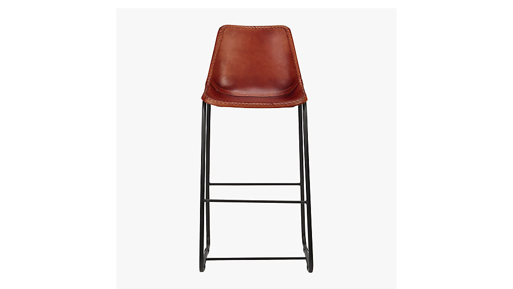 - Roadhouse Leather Bar Stools CB2
