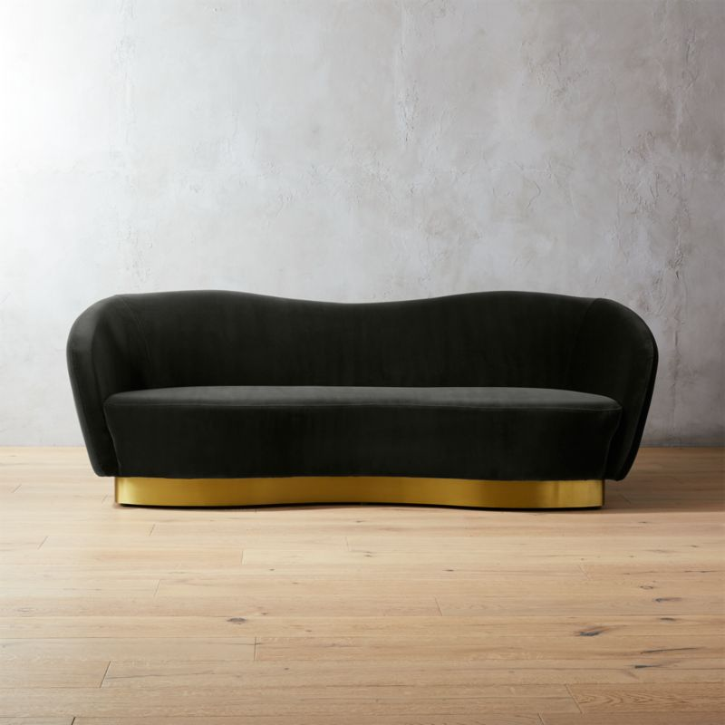 newrobey charcoal velvet curved sofa add to favorites - Curved Sofas