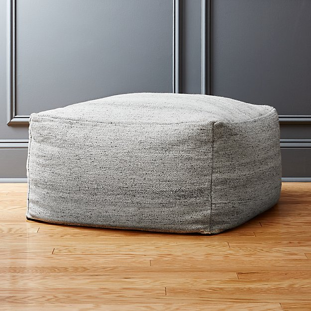 Rook light grey pouf in poufs reviews cb2 for Crate and barrel pouf