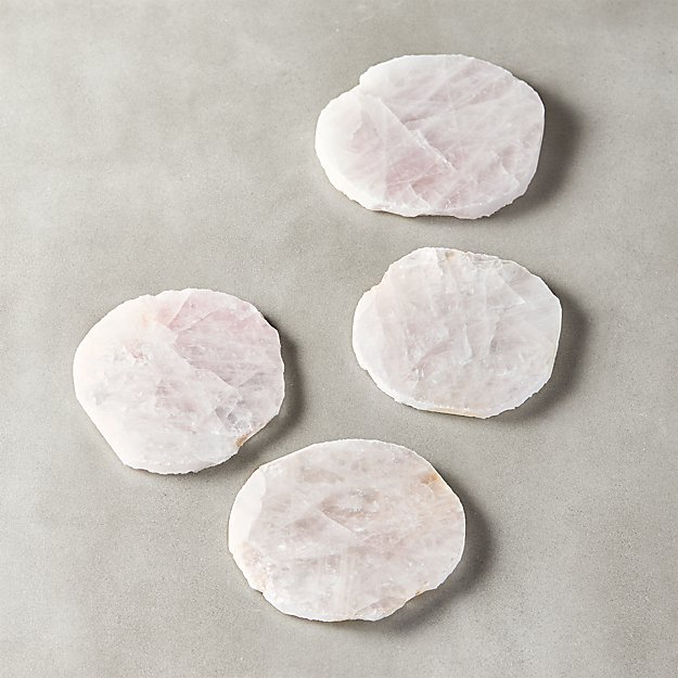 Rose Quartz Coasters Set of 4