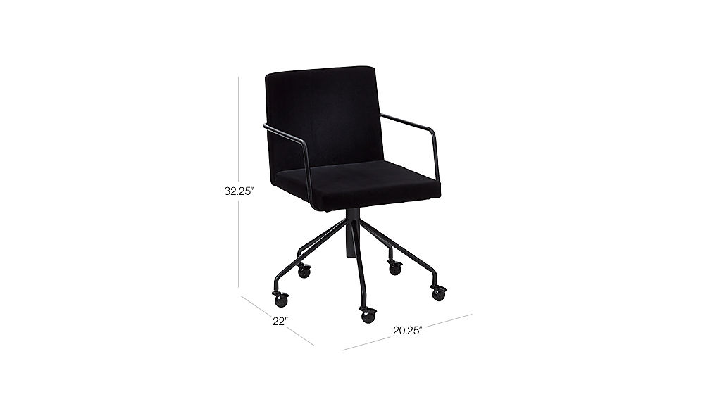 Lovely TAP TO ZOOM Image With Dimension For Rouka Black Velvet Office Chair