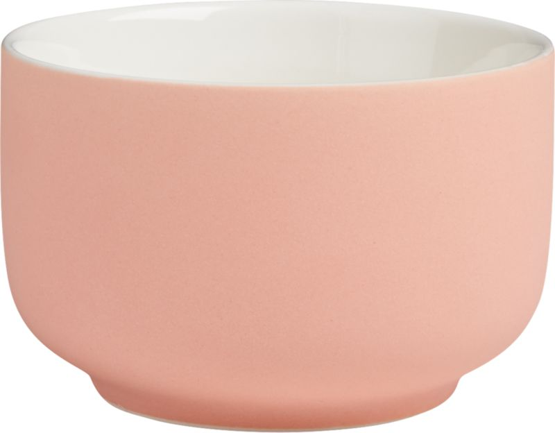"""<span class=""""copyHeader"""">candy coated.</span> Mini porcelain bowl glazed matte pink is a sweet spot for candy, nuts, small bites. Fun as a trio with roundish mini bowl green and salmon.<br /><br /><NEWTAG/><ul><li>Porcelain</li><li>Matte pink glaze</li><li>Dishwasher- and microwave-safe</li></ul>"""