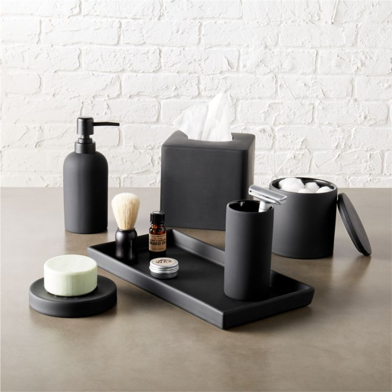 Bathroom Accessories Pics rubber coated black bath accessories | cb2