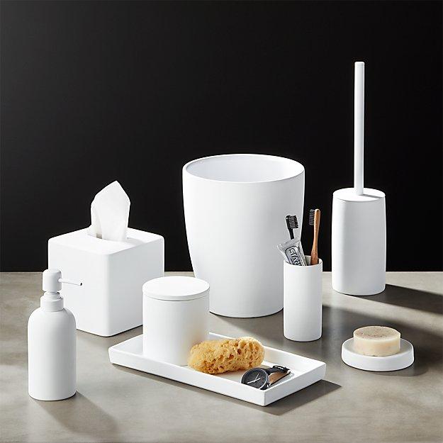 White rubber coated bath accessories cb2 for Bath accessories sale