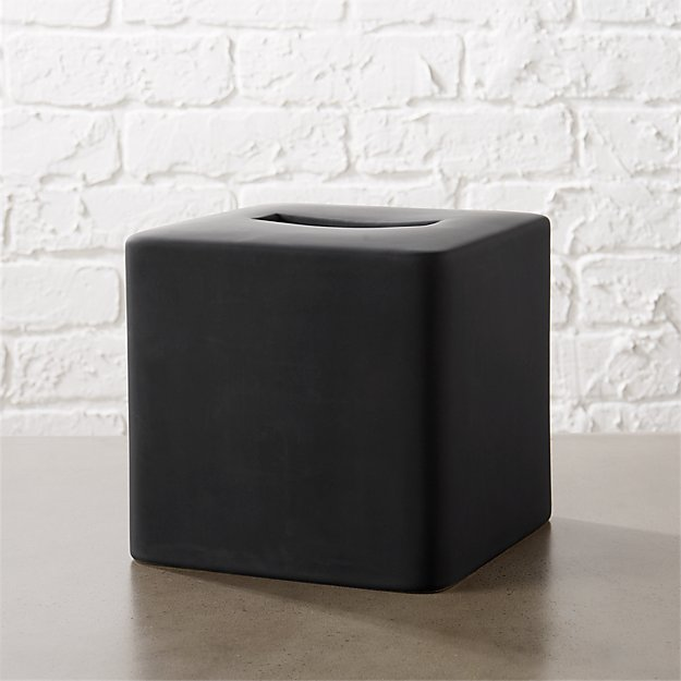 rubber coated black tissue box cover