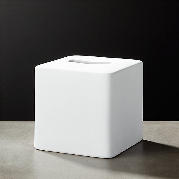 White Rubber Coated Tissue Box Cover Reviews Cb2