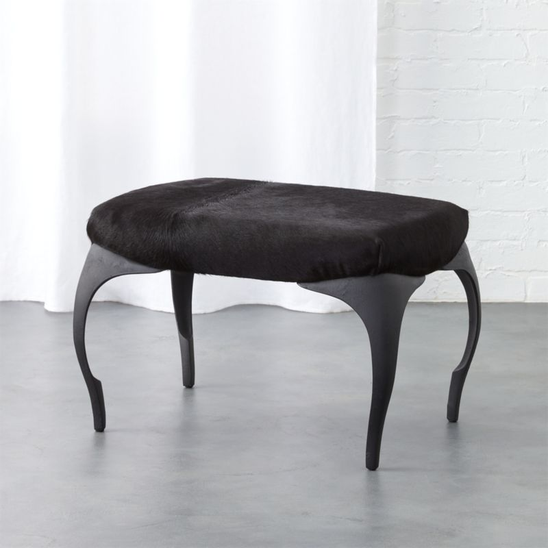 Pin It runi black cowhide ottoman - Modern Ottomans And Storage Benches CB2