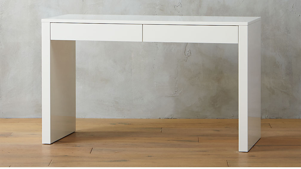 Runway White Lacquer Desk Reviews Cb2
