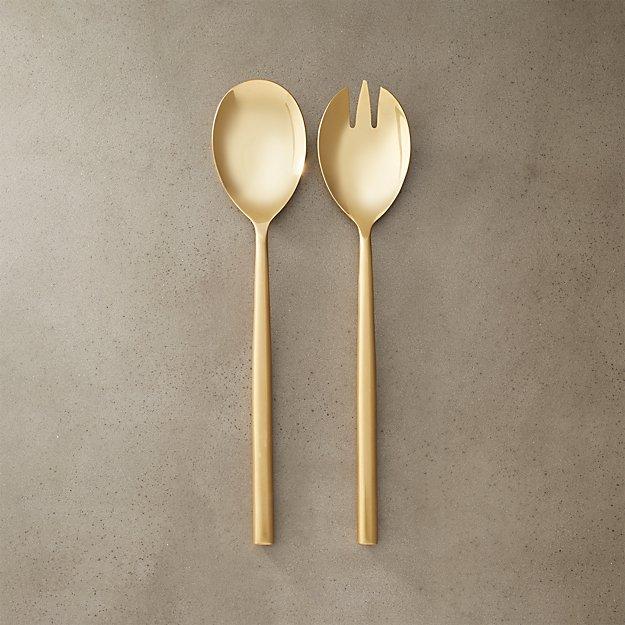 Rush Gold Serving Spoons Cb2