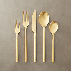 20-piece rush gold flatware set