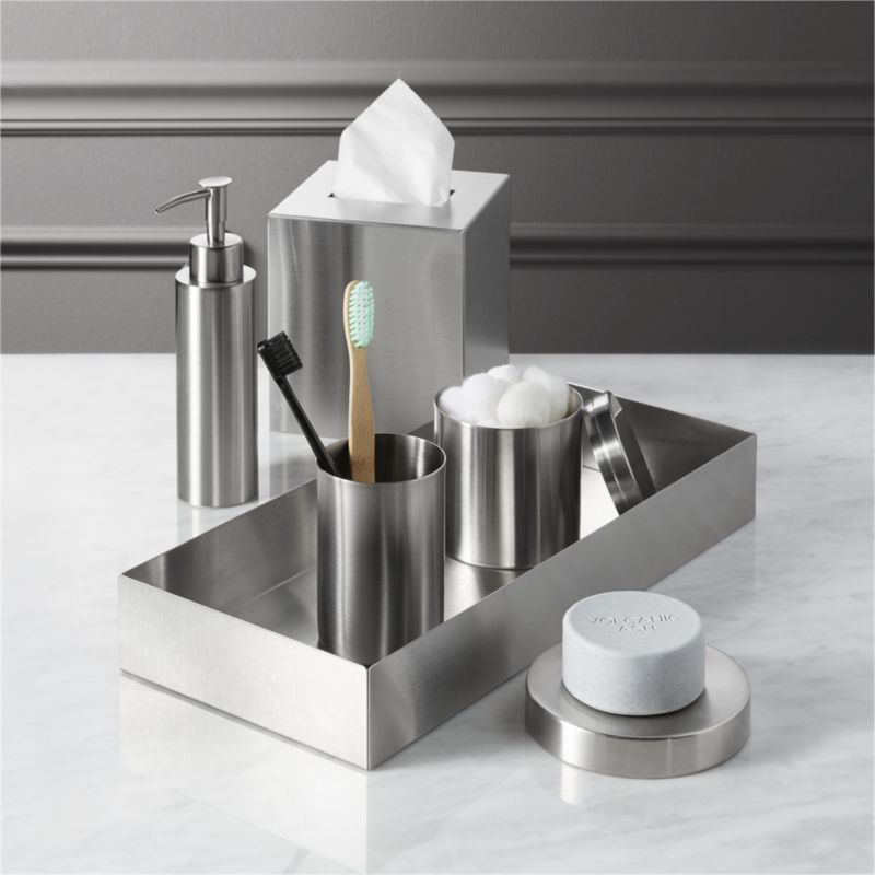 Stainless steel bath accessories cb2 for Bathroom accessories images