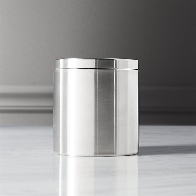 stainless steel canister with lid