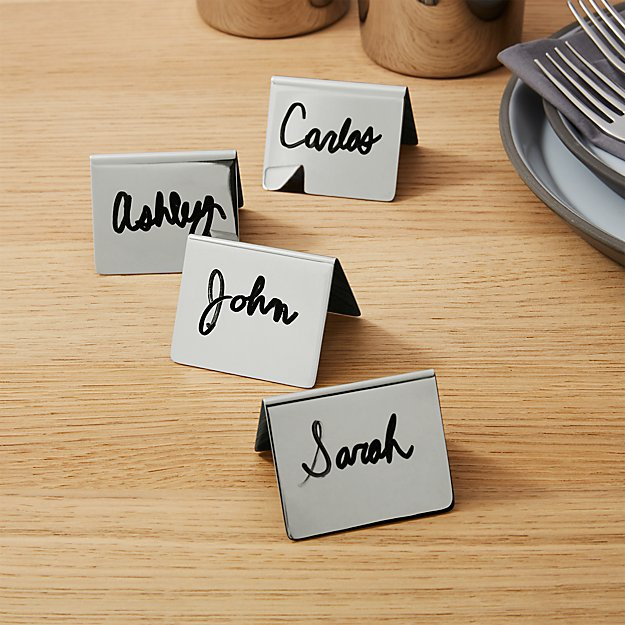 set of 4 shiny stainless steel place card holders