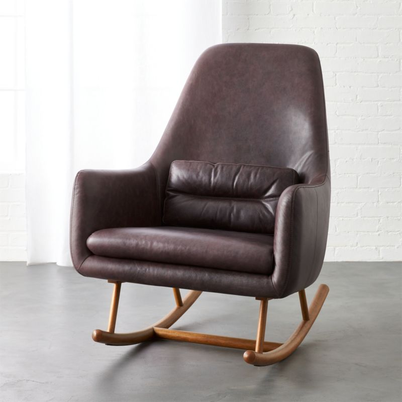 Saic quantam black leather rocking chair cb