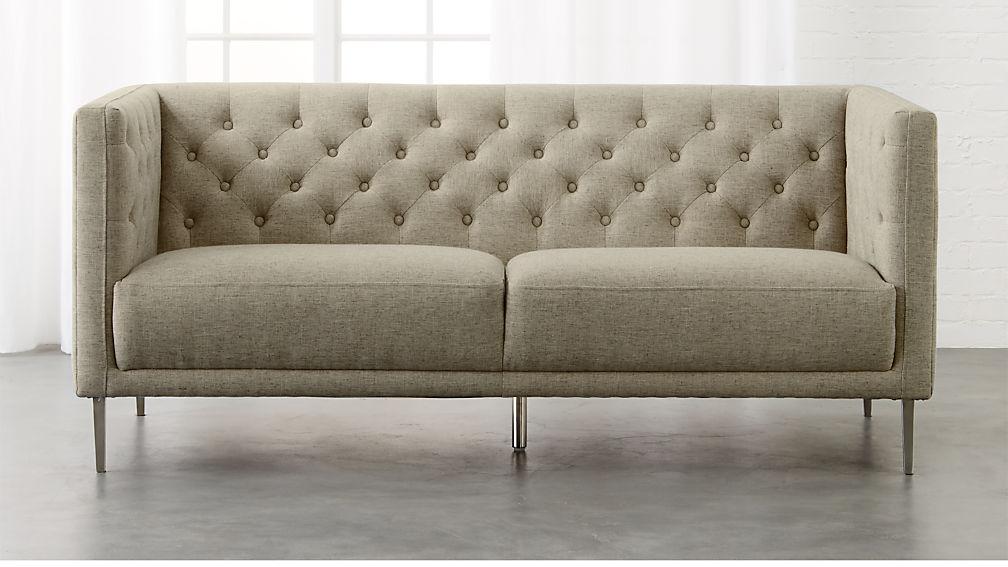 Savile Grey Tufted Apartment Sofa Cb2