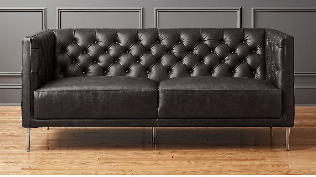 Savile Black Leather Tufted Apartment Sofa In Sofas