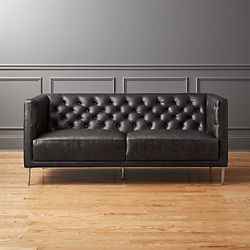 Savile Black Leather Tufted Apartment Sofa