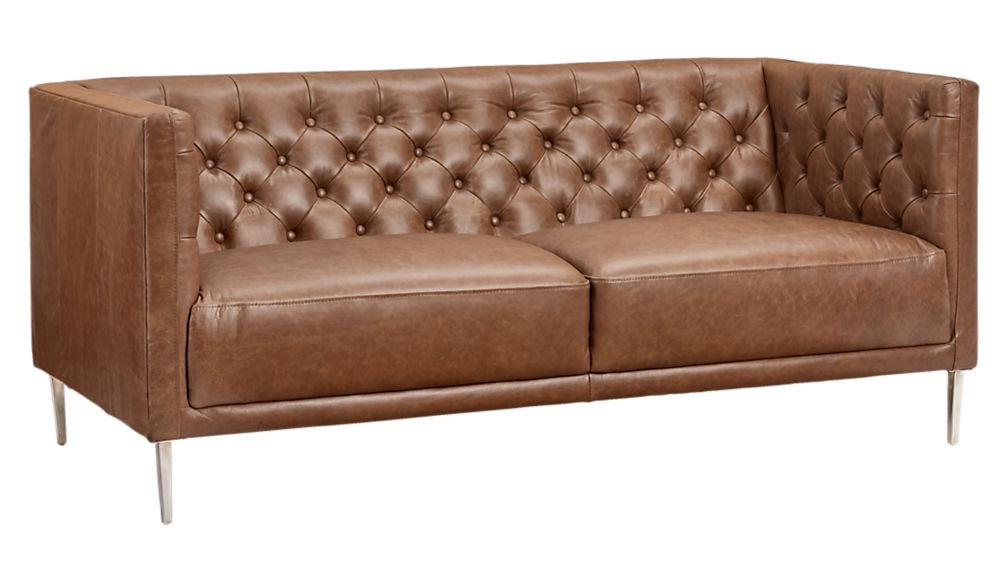 Savile Dark Saddle Brown Leather Tufted Apartment Sofa