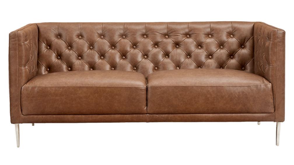 Savile Dark Saddle Brown Leather Tufted Apartment Sofa Cb2