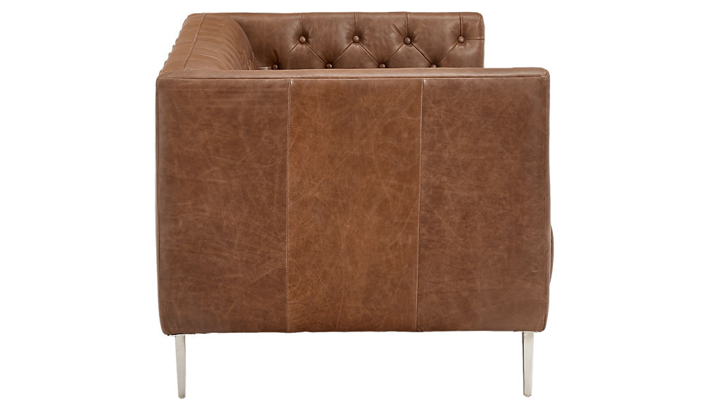 Savile Dark Saddle Brown Leather Tufted Chair Cb2