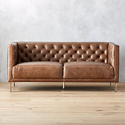 Savile Dark Saddle Brown Leather Tufted Sofa | CB2
