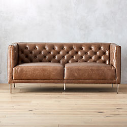 Savile Dark Saddle Brown Leather Tufted Apartment Sofa
