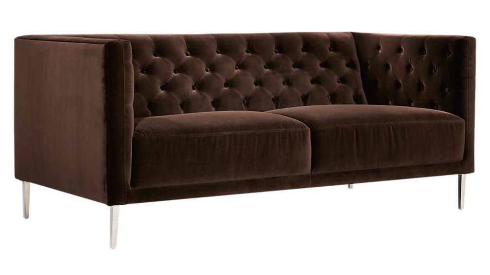 Savile Cocoa Brown Velvet Tufted Apartment Sofa Cb2