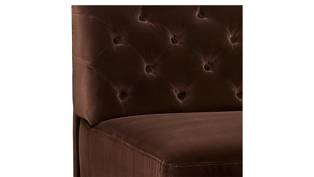Savile Cocoa Brown Velvet Tufted Armless Sofa