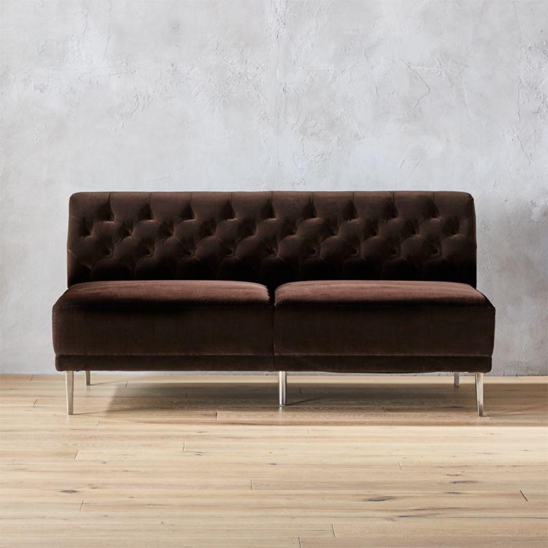 Savile Cocoa Brown Velvet Tufted Armless Sofa Reviews Cb2