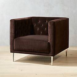 Savile Cocoa Brown Velvet Tufted Chair