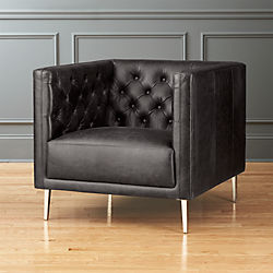 Savile Black Leather Tufted Chair
