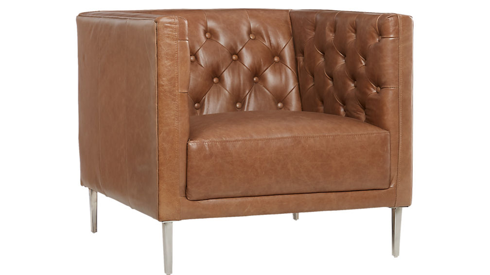 ... Savile Dark Saddle Leather Tufted Chair ...