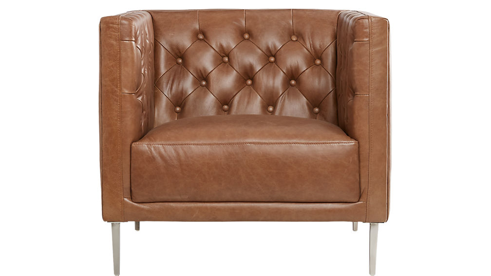 Savile Dark Saddle Brown Leather Tufted Chair