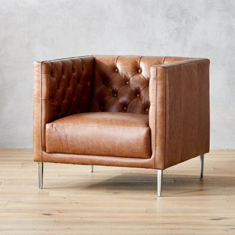 Savile Dark Saddle Leather Tufted Chair Cb2