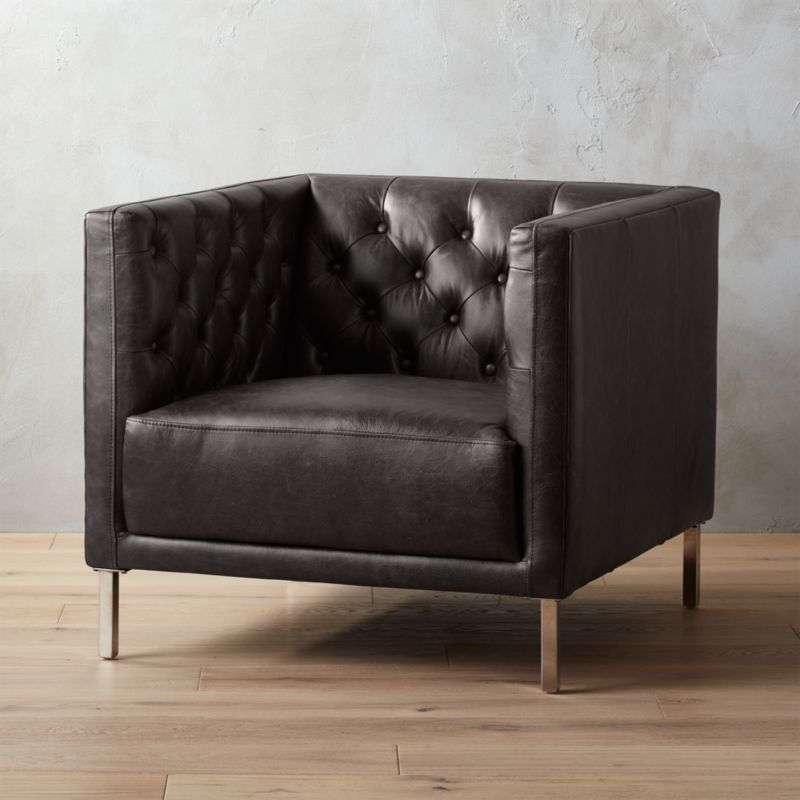 Savile Black Leather Chesterfield Chair Cb2