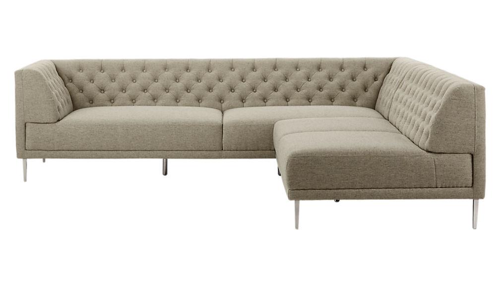 Savile Grey Tufted Sectional Sofa