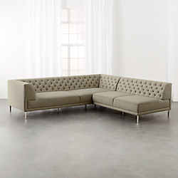 Savile Grey Tufted Sectional Sofa