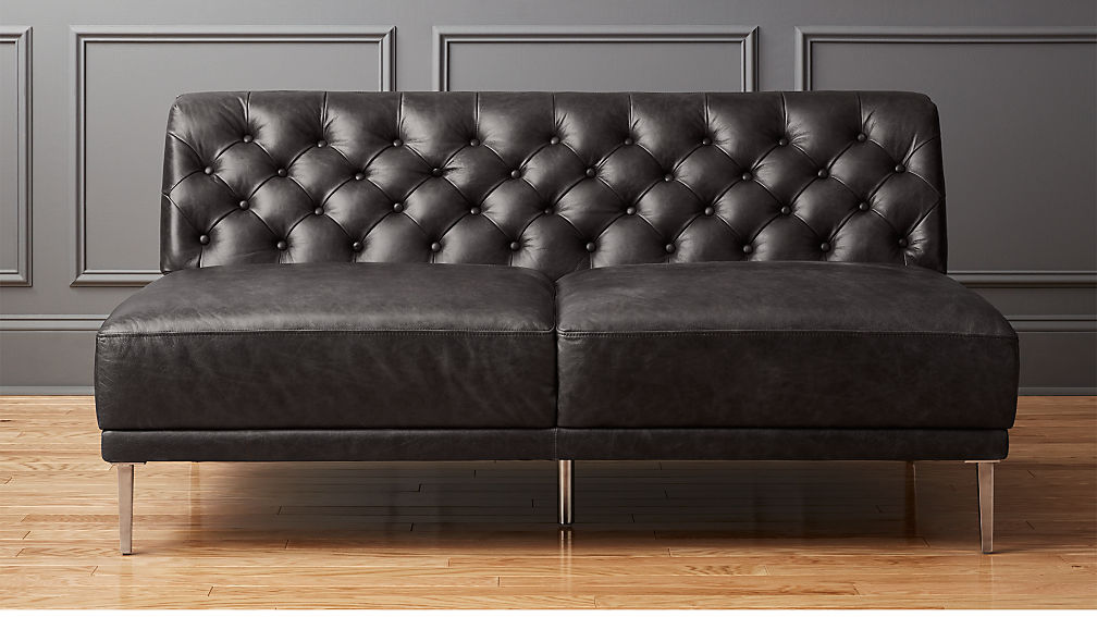 Savile black leather tufted armless sofa cb2 for Cb2 leather sectional
