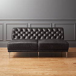Savile Black Leather Tufted Armless Sofa